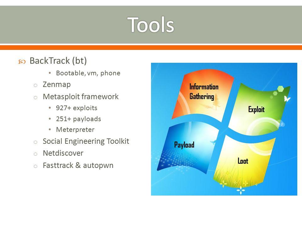  BackTrack (bt) Bootable, vm, phone o Zenmap o Metasploit framework 927+ exploits 251+ payloads Meterpreter o Social Engineering Toolkit o Netdiscover o Fasttrack & autopwn
