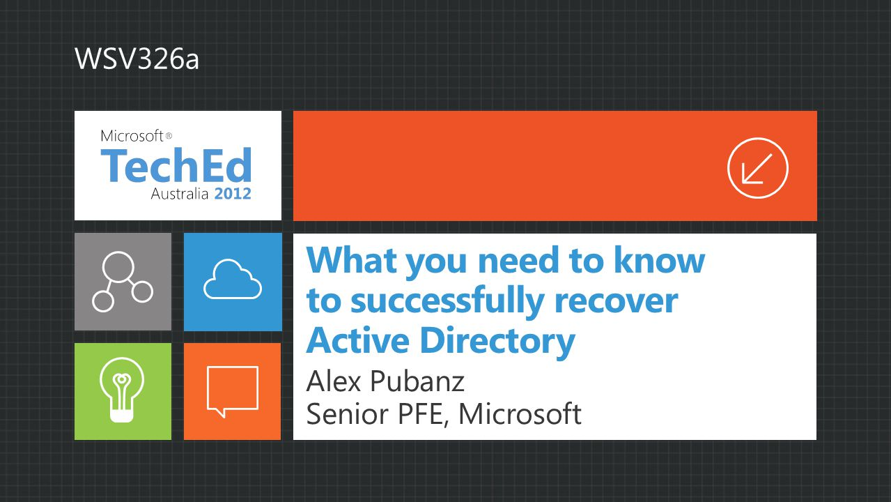 What you need to know to successfully recover Active Directory Alex Pubanz Senior PFE, Microsoft WSV326a
