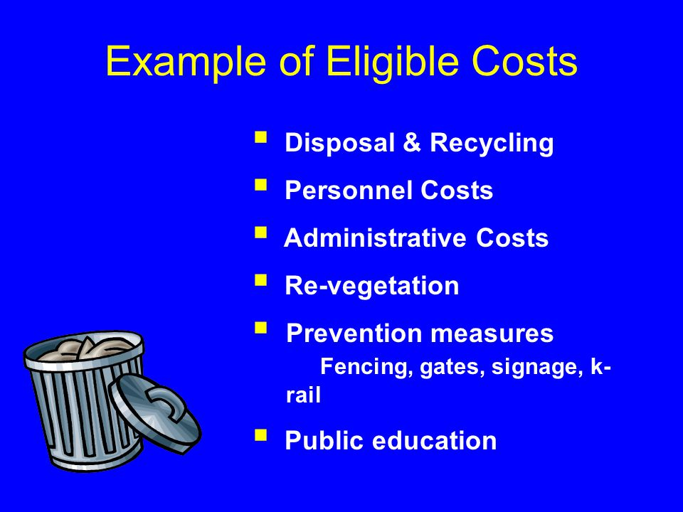  Disposal & Recycling  Personnel Costs  Administrative Costs  Re-vegetation  Prevention measures Fencing, gates, signage, k- rail  Public education Example of Eligible Costs
