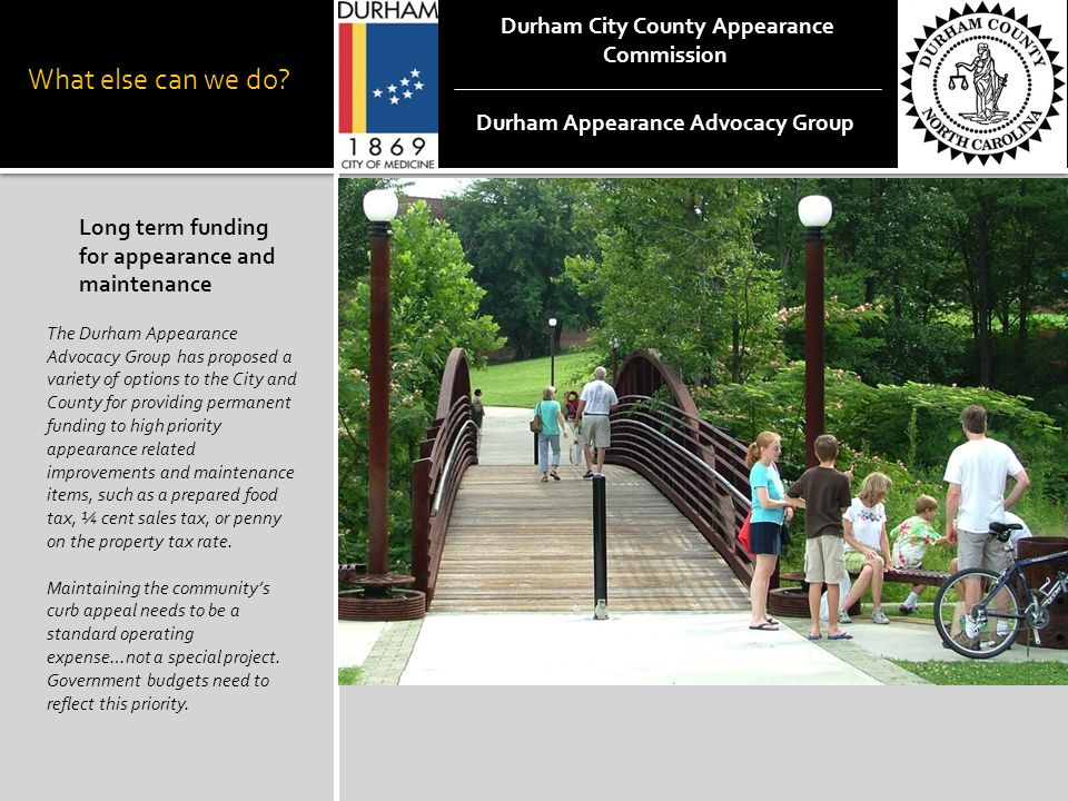 What else can we do? Long term funding for appearance and maintenance The Durham Appearance Advocacy Group has proposed a variety of options to the Ci