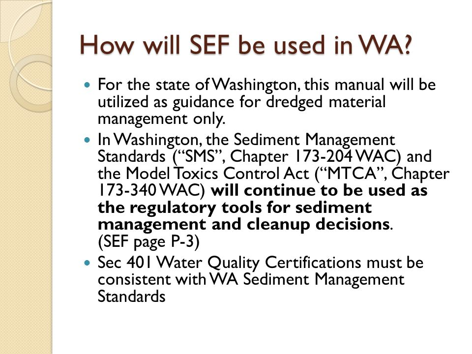 MTCA/SMS Rule Updates (cont) SMS Issues: Freshwater Sediment Standards Other Toxic, Radioactive, Biological or Deleterious Substances Background Concentrations in Setting Sediment Cleanup Standards Integrating the Sediment Management Standards and Model Toxics Control Act Rules Human Health Risks in Setting Sediment Cleanup Standards Ecological Risks from Bioaccumulative Chemicals in Sediment