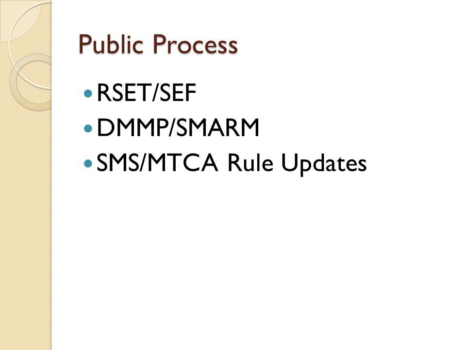 Acronyms Regional Sediment Evaluation Team (RSET) Sediment Evaluation Framework (SEF) Dredged Material Management Program (DMMP) Sediment Management Annual Review Meeting (SMARM) Sediment Management Standards (SMS) Model Toxics Control Act (MTCA)