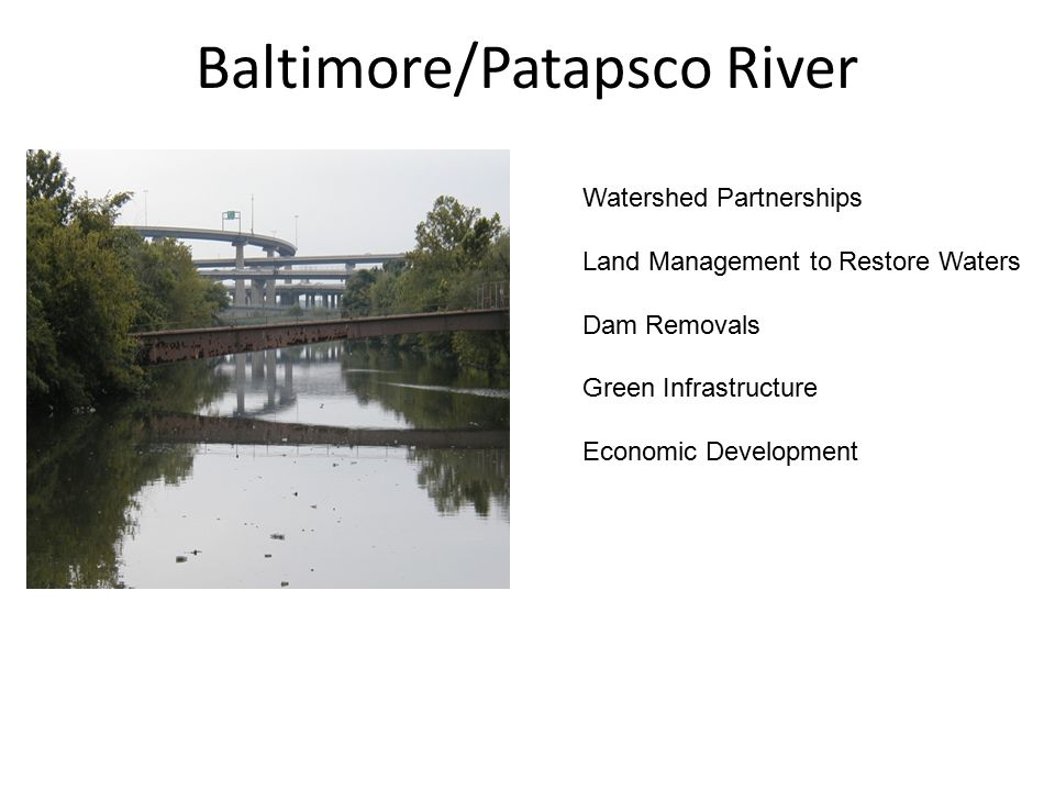 Baltimore/Patapsco River Watershed Partnerships Land Management to Restore Waters Dam Removals Green Infrastructure Economic Development
