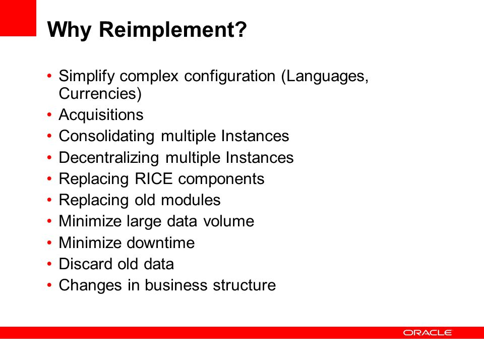 Why Reimplement.