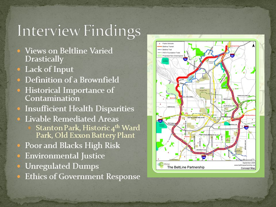 Views on Beltline Varied Drastically Lack of Input Definition of a Brownfield Historical Importance of Contamination Insufficient Health Disparities L