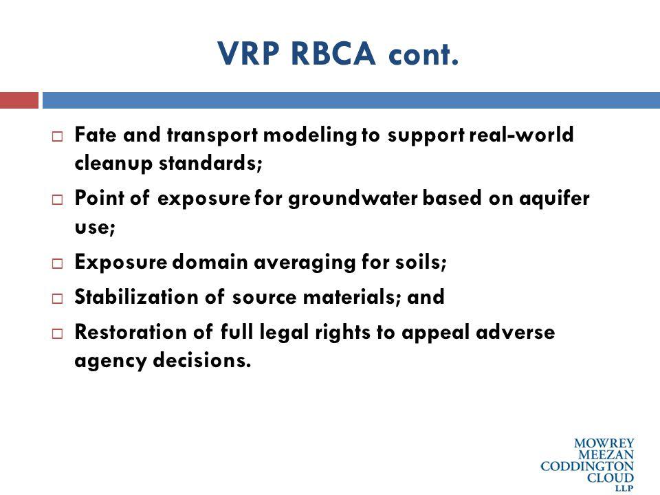 VRP RBCA cont.