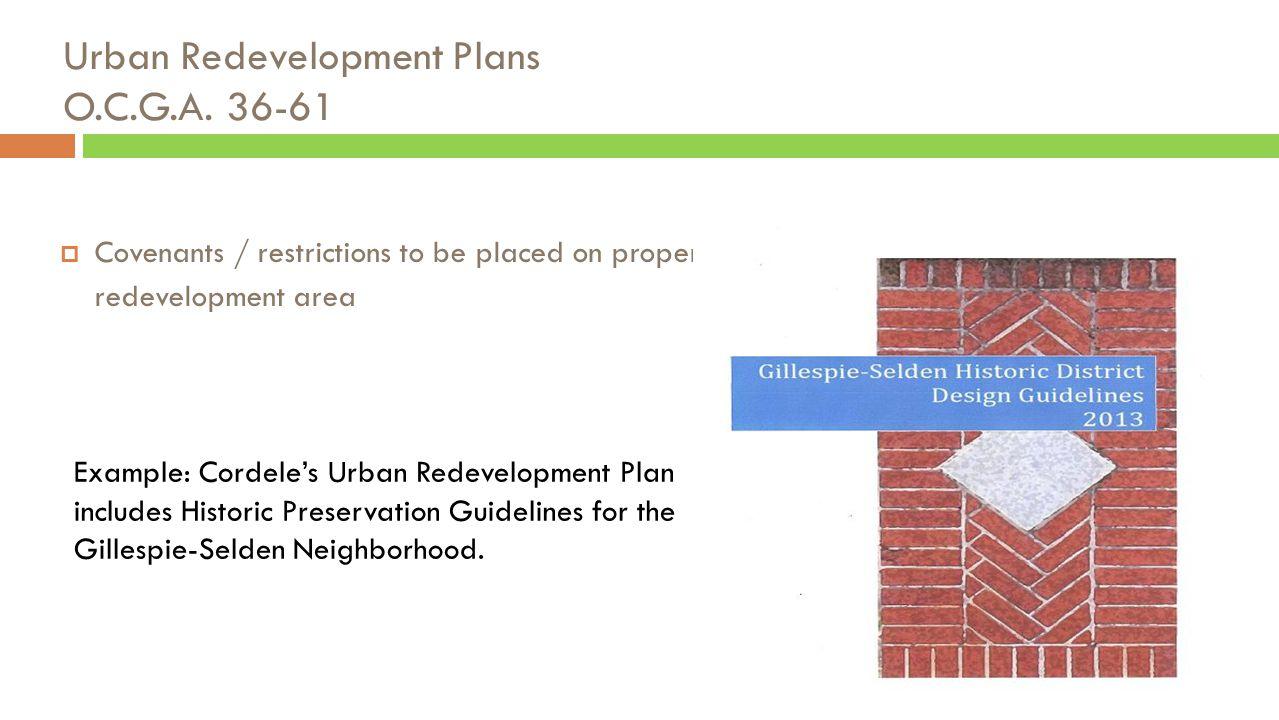 Urban Redevelopment Plans O.C.G.A.