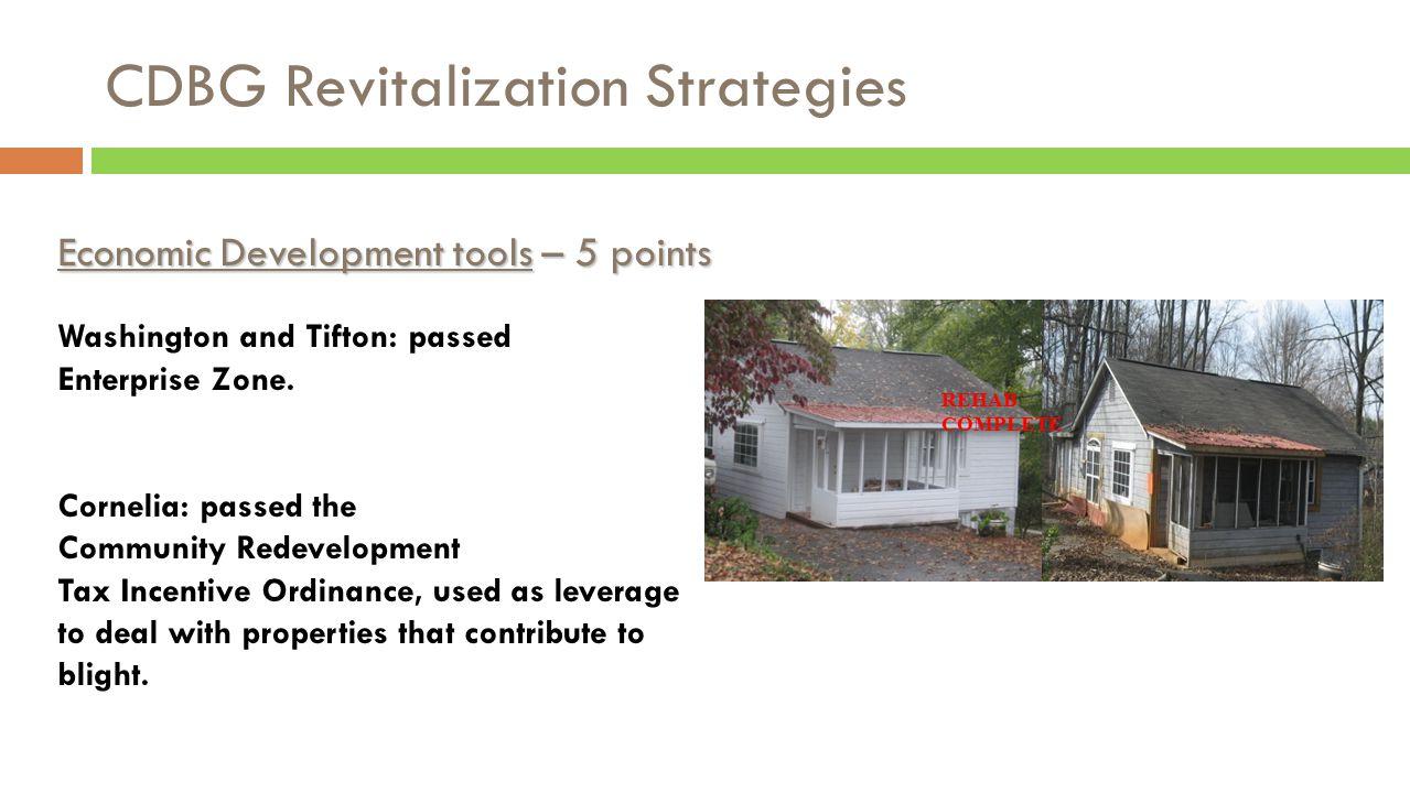 CDBG Revitalization Strategies REHAB COMPLETE Economic Development tools – 5 points Washington and Tifton: passed Enterprise Zone.