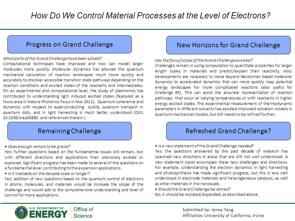 How Do We Control Material Processes at the Level of Electrons.