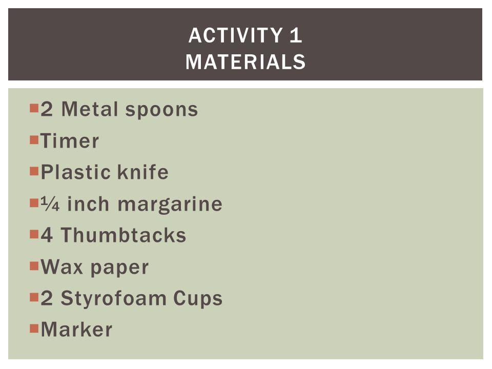  2 Metal spoons  Timer  Plastic knife  ¼ inch margarine  4 Thumbtacks  Wax paper  2 Styrofoam Cups  Marker ACTIVITY 1 MATERIALS