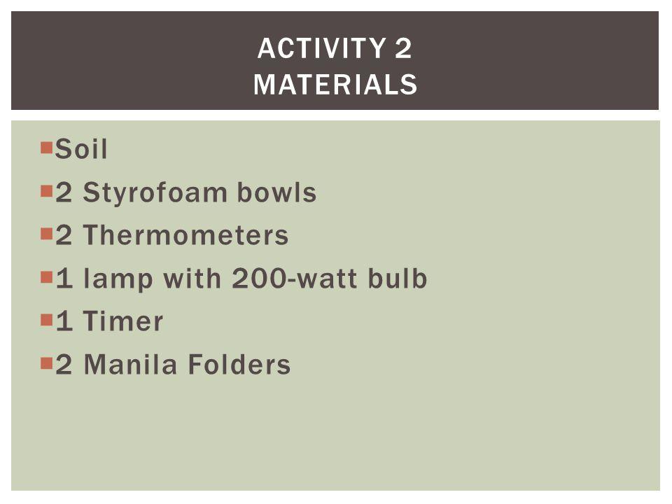  Soil  2 Styrofoam bowls  2 Thermometers  1 lamp with 200-watt bulb  1 Timer  2 Manila Folders ACTIVITY 2 MATERIALS