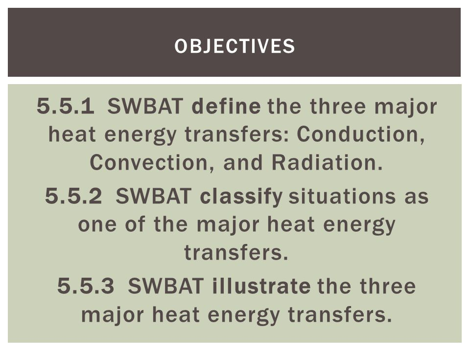 5.5.1 SWBAT define the three major heat energy transfers: Conduction, Convection, and Radiation.