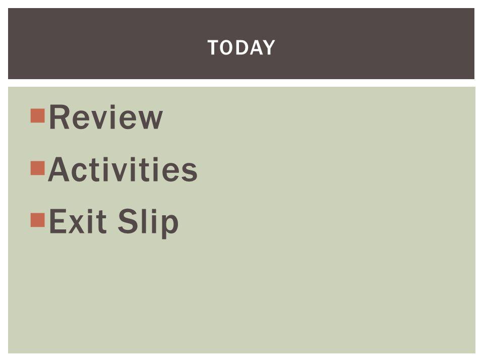  Review  Activities  Exit Slip TODAY