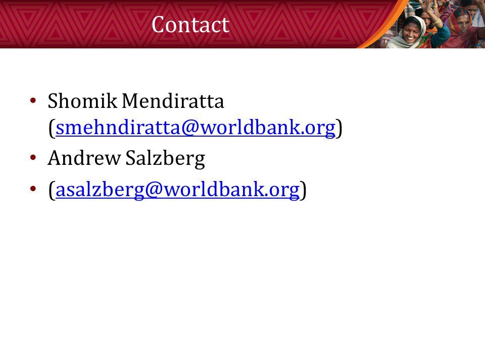 Contact Shomik Mendiratta (smehndiratta@worldbank.org)smehndiratta@worldbank.org Andrew Salzberg (asalzberg@worldbank.org)asalzberg@worldbank.org
