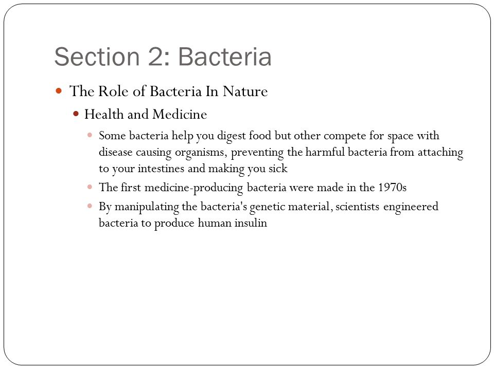 Section 2: Bacteria The Role of Bacteria In Nature Health and Medicine Some bacteria help you digest food but other compete for space with disease causing organisms, preventing the harmful bacteria from attaching to your intestines and making you sick The first medicine-producing bacteria were made in the 1970s By manipulating the bacteria s genetic material, scientists engineered bacteria to produce human insulin