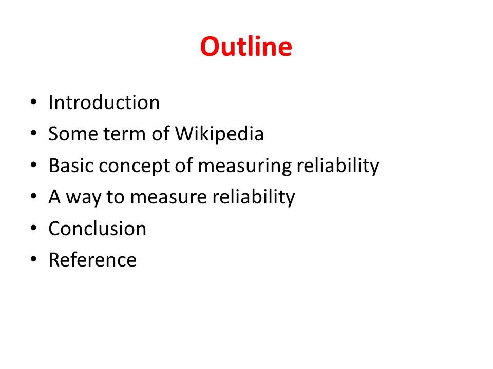 Basic concept of measuring reliability(2) class of terms