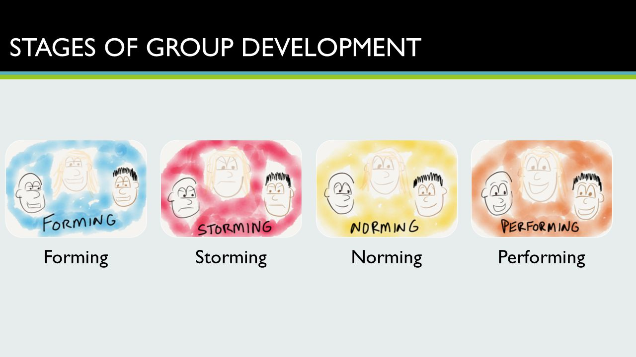 STAGES OF GROUP DEVELOPMENT FormingStormingNormingPerforming