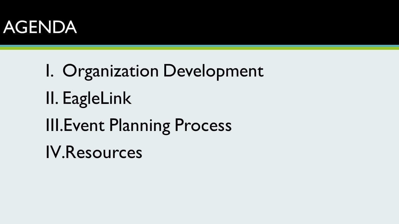 AGENDA I.Organization Development II.EagleLink III.Event Planning Process IV.Resources