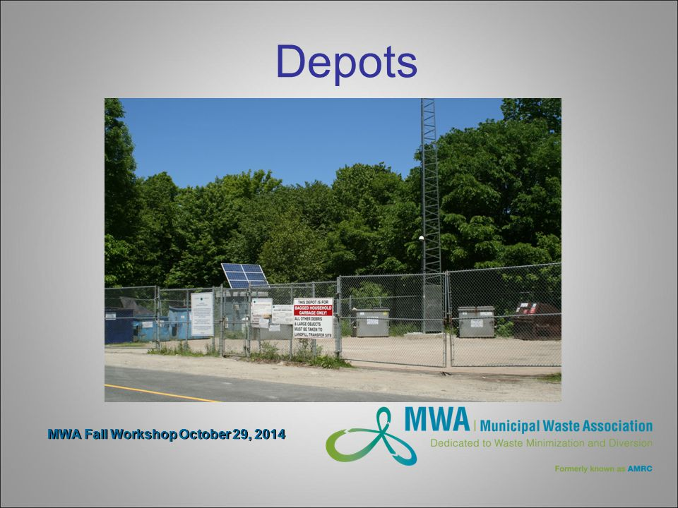 MWA Fall Workshop October 29, 2014 Depots