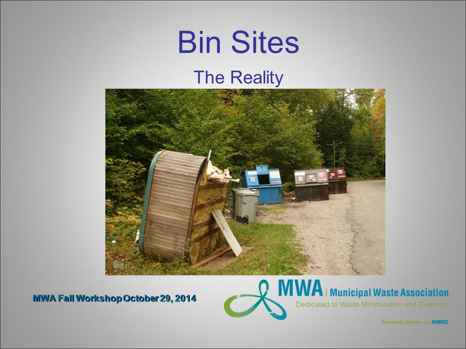 MWA Fall Workshop October 29, 2014 Bin Sites The Reality