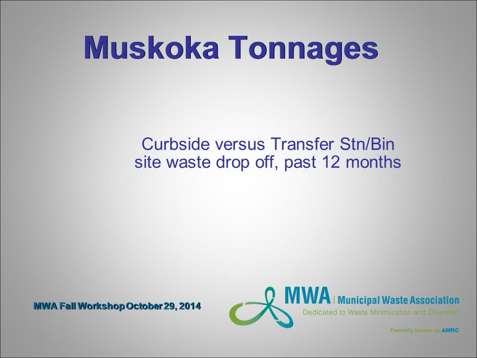 Muskoka Tonnages Curbside versus Transfer Stn/Bin site waste drop off, past 12 months MWA Fall Workshop October 29, 2014