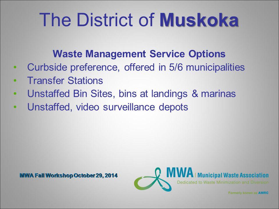 MWA Fall Workshop October 29, 2014 Transfer Stations Diversion Drop-off- MHSW