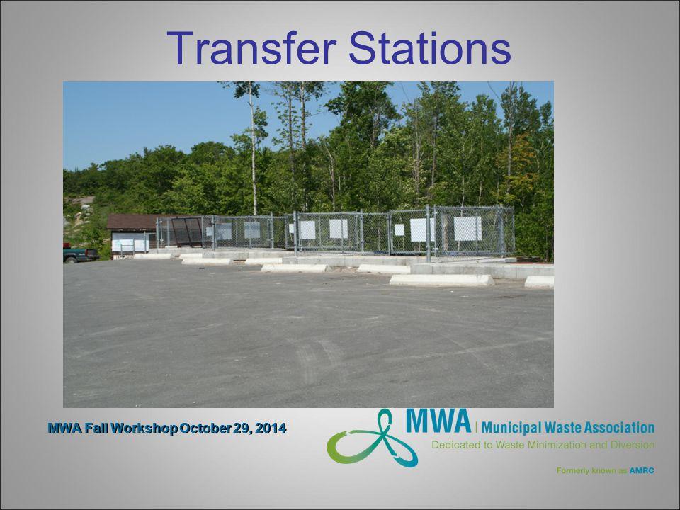 MWA Fall Workshop October 29, 2014 Transfer Stations Compactors- 2 options