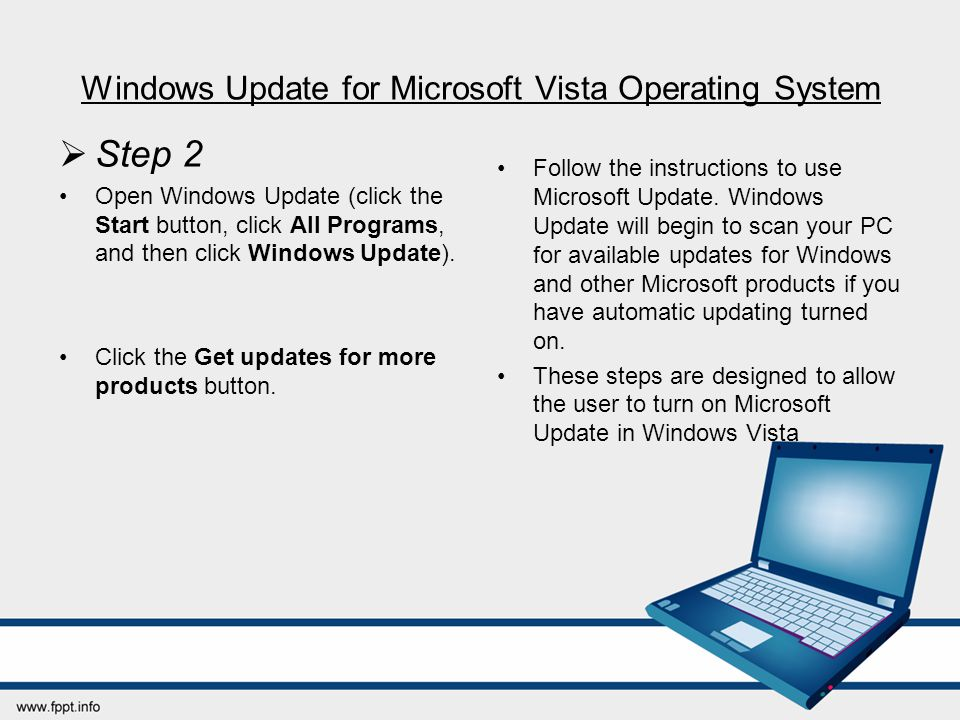 Windows Update for Microsoft Vista Operating System  Step 2 Open Windows Update (click the Start button, click All Programs, and then click Windows U