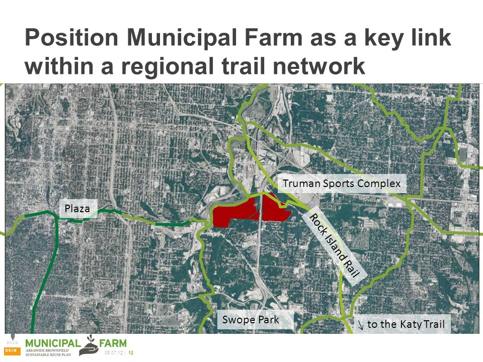 | 12 Position Municipal Farm as a key link within a regional trail network Swope Park Plaza Truman Sports Complex Rock Island Rail to the Katy Trail