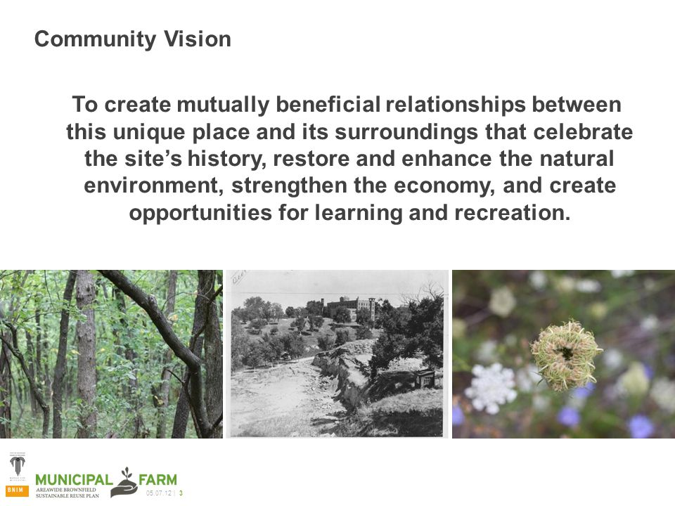 | 3 Community Vision To create mutually beneficial relationships between this unique place and its surroundings that celebrate the site's history, restore and enhance the natural environment, strengthen the economy, and create opportunities for learning and recreation.