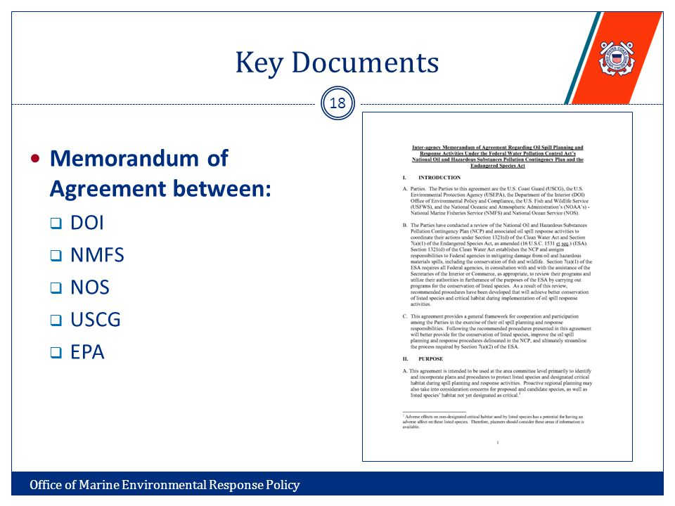 Key Documents Memorandum of Agreement between:  DOI  NMFS  NOS  USCG  EPA 18 Office of Marine Environmental Response Policy