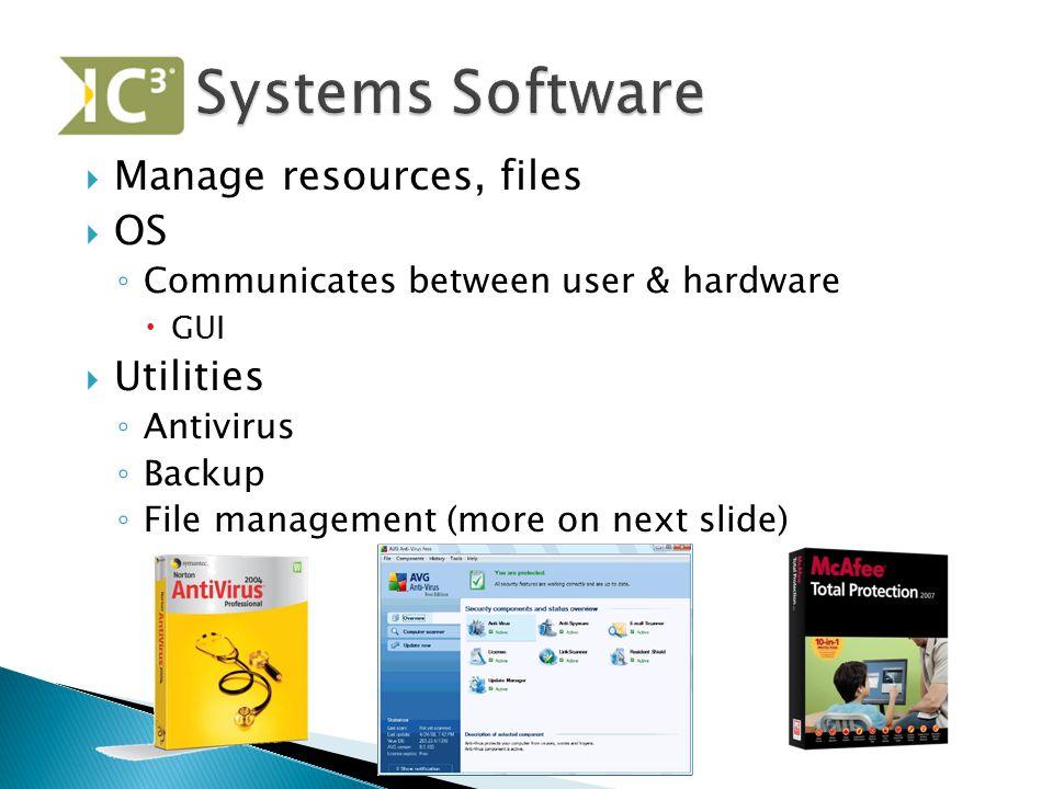  Manage resources, files  OS ◦ Communicates between user & hardware  GUI  Utilities ◦ Antivirus ◦ Backup ◦ File management (more on next slide)