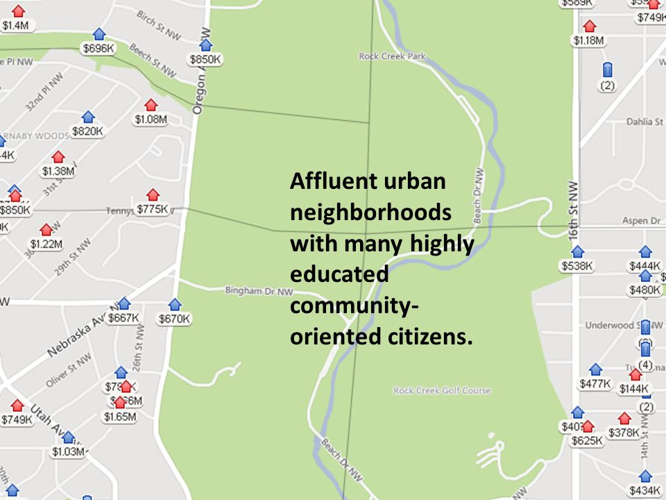 What Makes RCC Special Affluent urban neighborhoods with many highly educated community- oriented citizens.