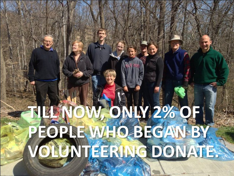 TILL NOW, ONLY 2% OF PEOPLE WHO BEGAN BY VOLUNTEERING DONATE.