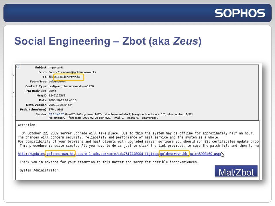 Social Engineering – Zbot (aka Zeus) Mal/Zbot
