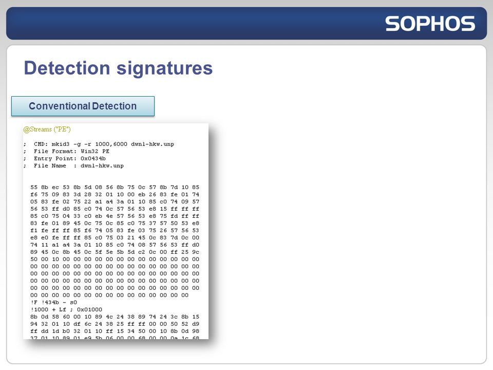 Detection signatures Conventional Detection