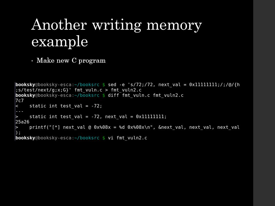 Another writing memory example Make new C program