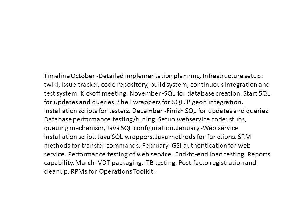 Timeline October -Detailed implementation planning.