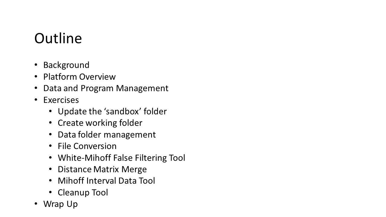 Exercise: Create a work shop folder Click New Folder button on Files Menu Type in folder name Click OK