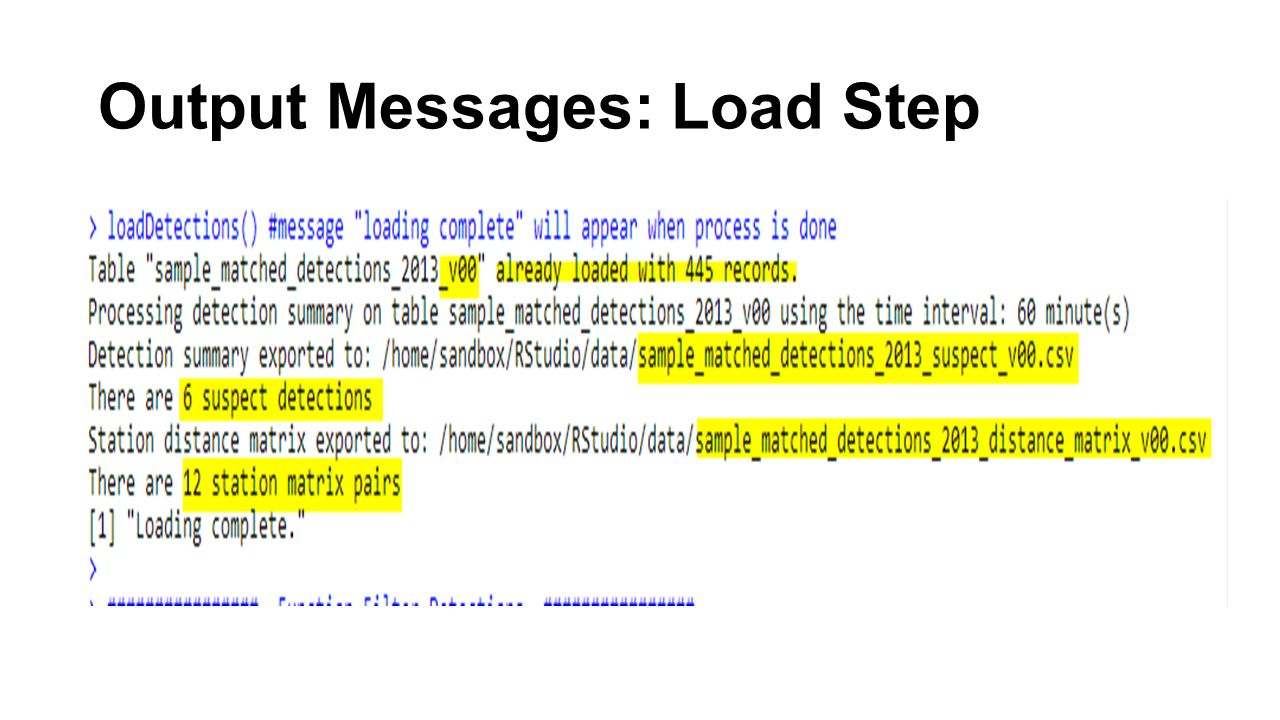 Output Messages: Load Step