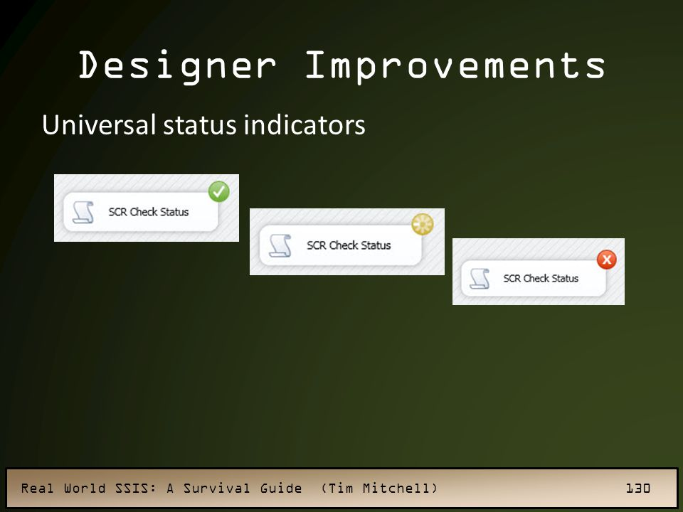 Real World SSIS: A Survival Guide (Tim Mitchell) 130 Designer Improvements Universal status indicators