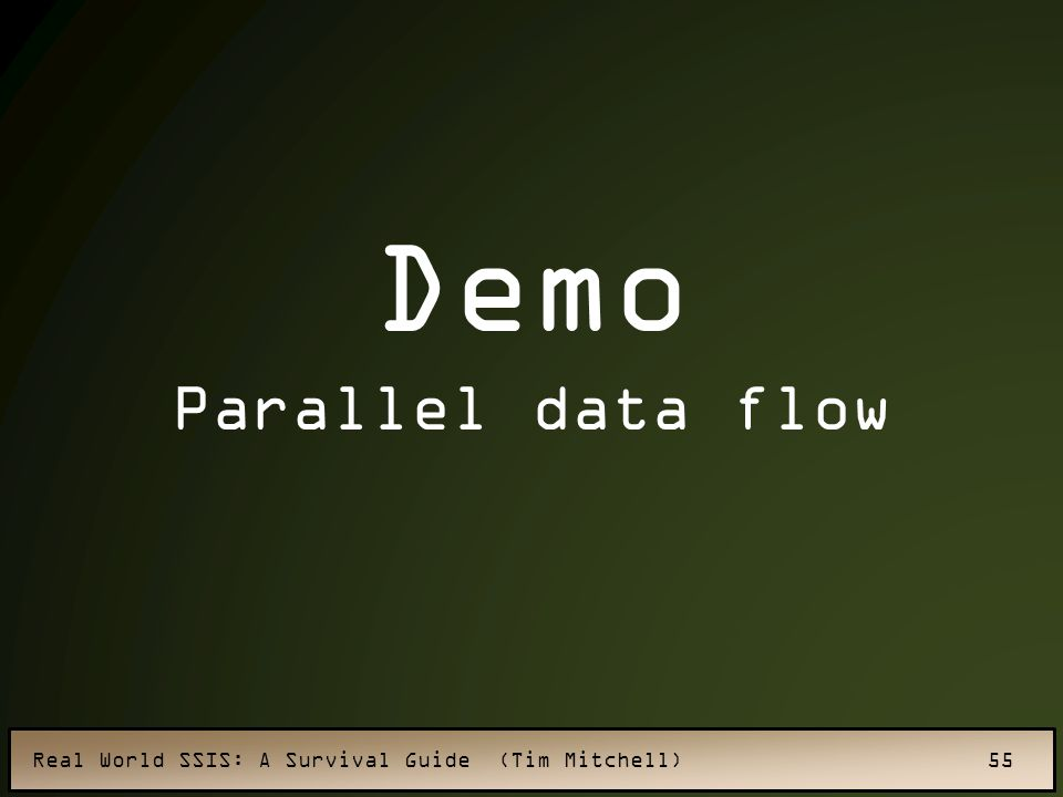 Real World SSIS: A Survival Guide (Tim Mitchell) 55 Demo Parallel data flow