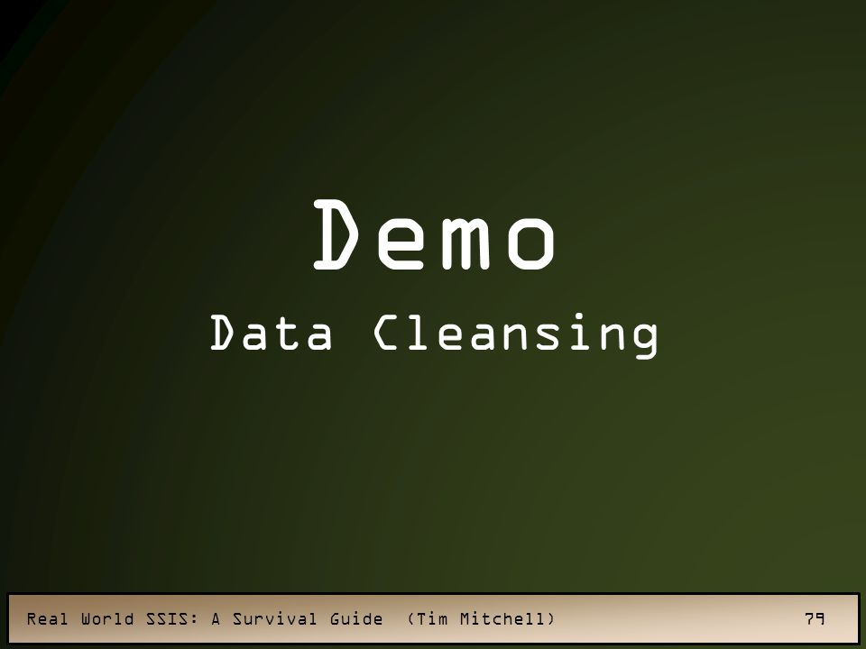 Real World SSIS: A Survival Guide (Tim Mitchell) 79 Demo Data Cleansing