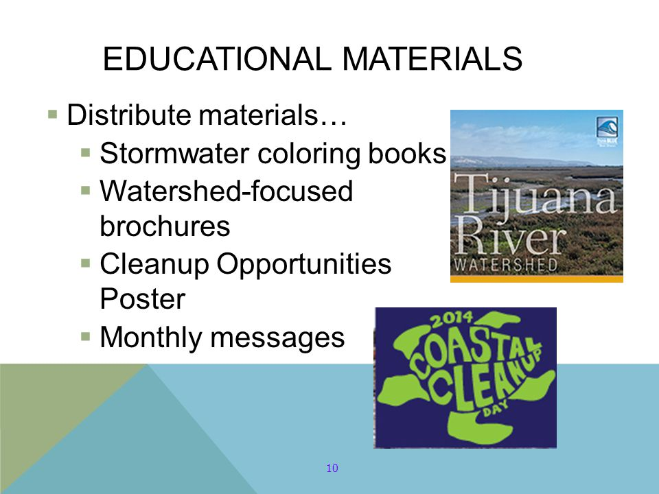 EDUCATIONAL MATERIALS  Distribute materials…  Stormwater coloring books  Watershed-focused brochures  Cleanup Opportunities Poster  Monthly messa