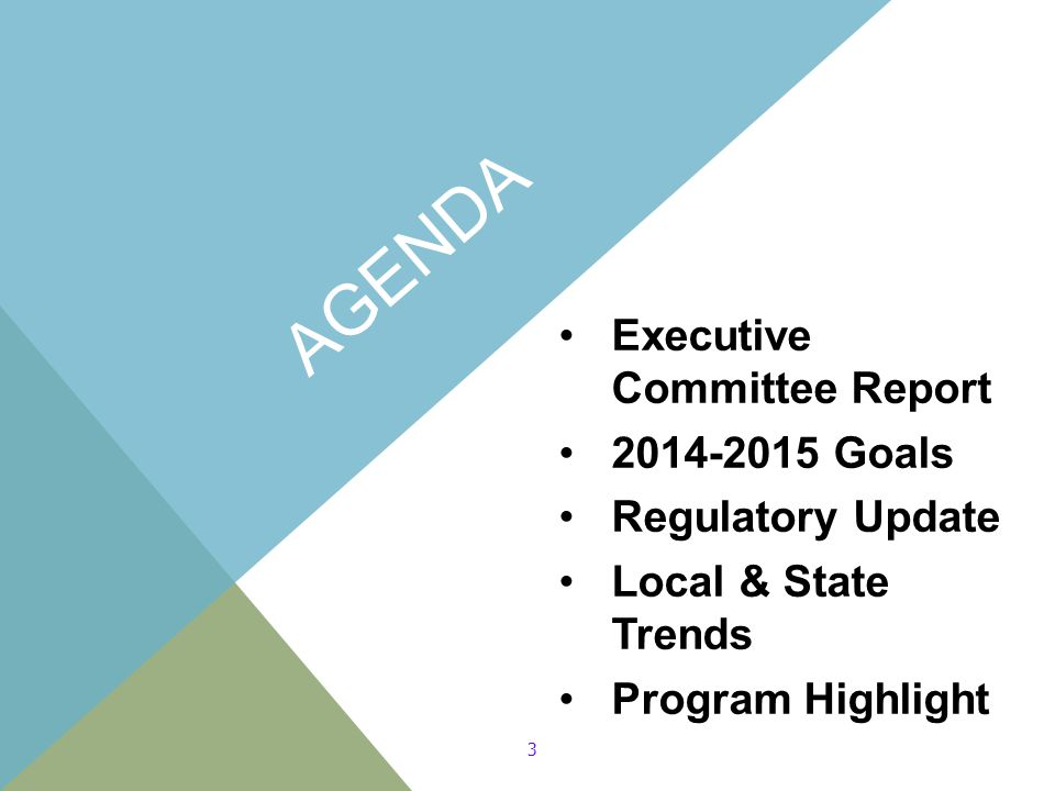 AGENDA Executive Committee Report 2014-2015 Goals Regulatory Update Local & State Trends Program Highlight 3