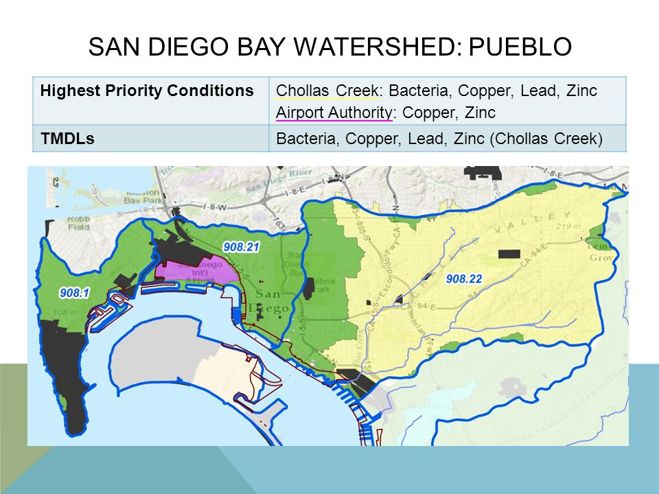 SAN DIEGO BAY WATERSHED: PUEBLO Highest Priority ConditionsChollas Creek: Bacteria, Copper, Lead, Zinc Airport Authority: Copper, Zinc TMDLsBacteria,