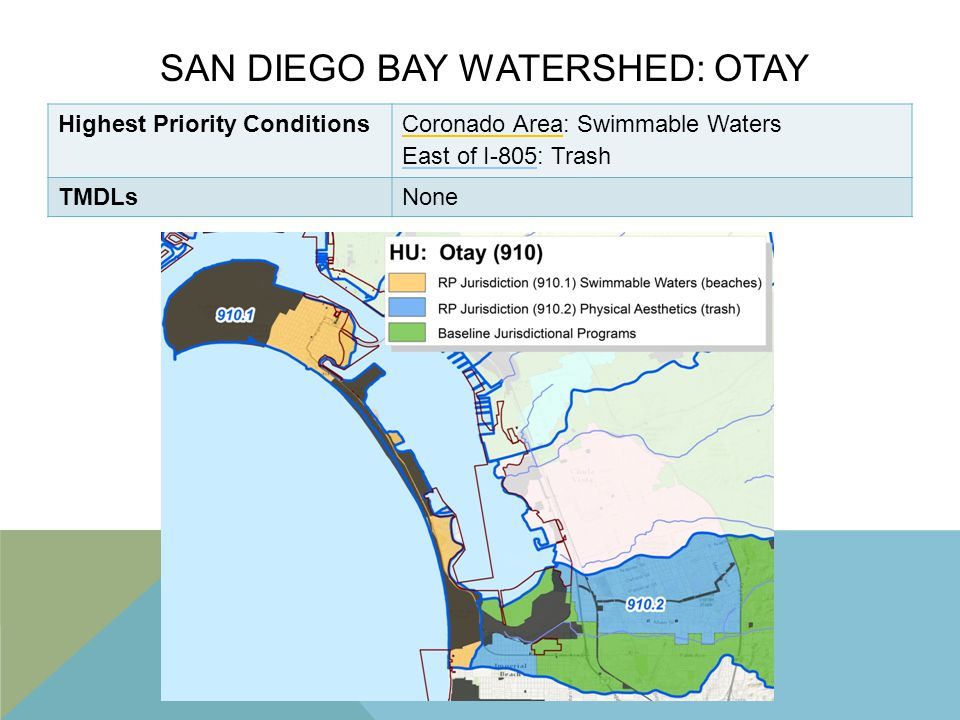 SAN DIEGO BAY WATERSHED: OTAY Highest Priority ConditionsCoronado Area: Swimmable Waters East of I-805: Trash TMDLsNone