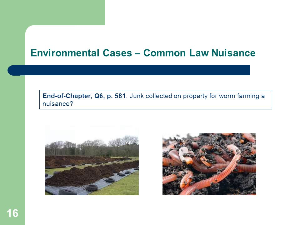 Environmental Cases – Common Law Nuisance 16 End-of-Chapter, Q6, p.