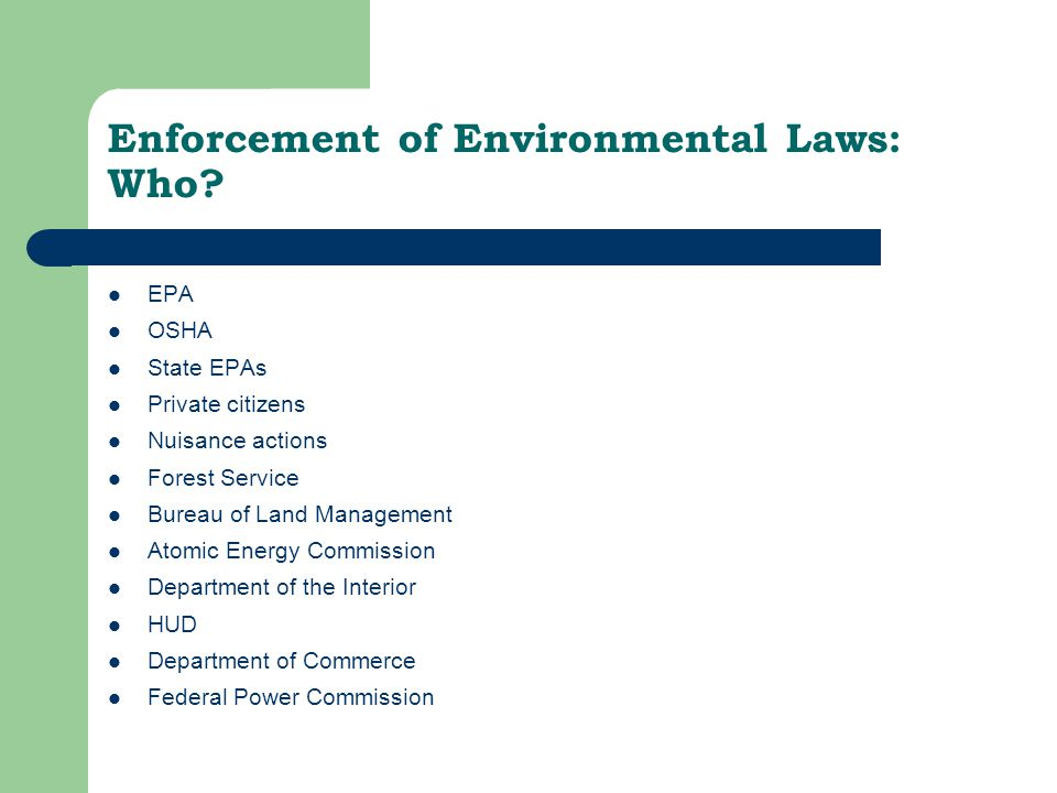 Enforcement of Environmental Laws: Who.