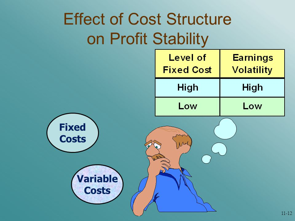 Variable Costs Fixed Costs Effect of Cost Structure on Profit Stability 11-12